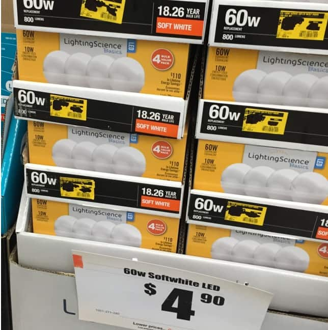 YMMV - Home Depot has LightingScience 60W Replacement (10W) LED Bulb for $4.90 (4-Pack)