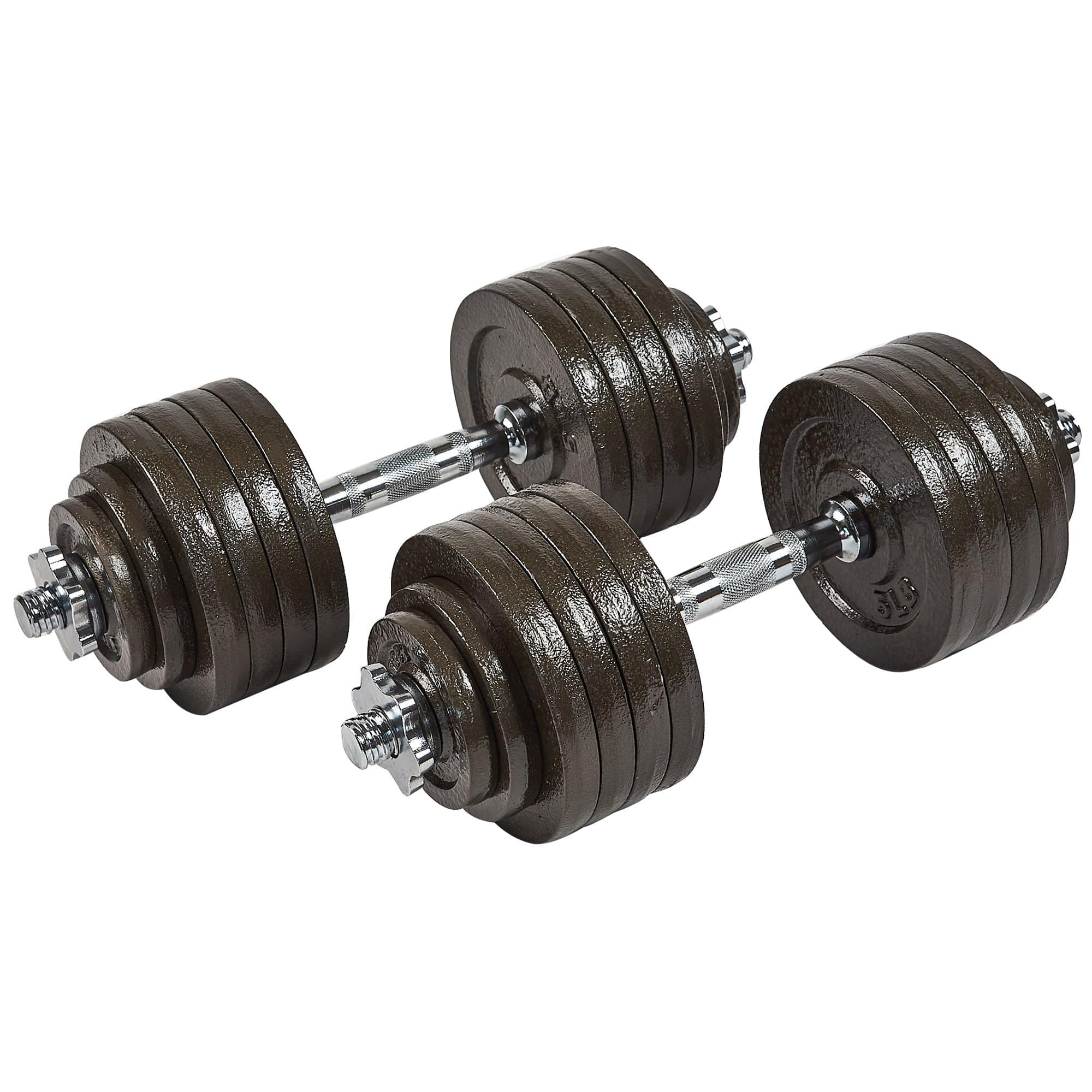 Everyday Essentials Contoured Handle Cast Iron Adjustable Dumbbell Weight Set, 52.5 lbs Pair for $179.99. Free shipping