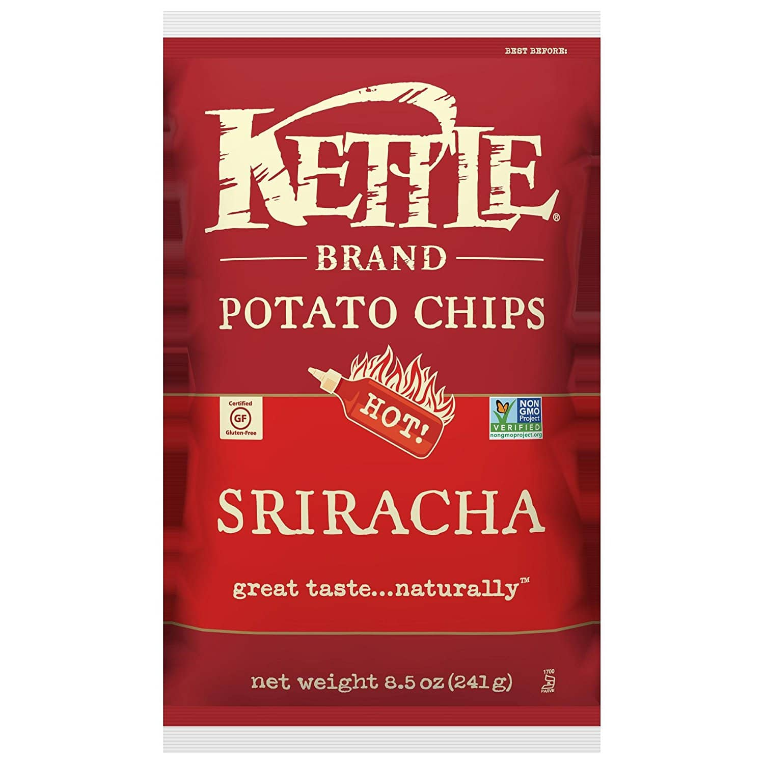 Kettle Brand Potato Chips, Sriracha, 8.5-Ounce Bags (Pack of 12) for $24.73 or lower with S&S @ Amazon
