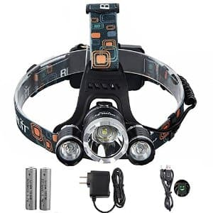Super Bright 3 Beads Waterproof LED Headlamp with 2 Rechargeable 18650 Batteries: $19.99 FS w/prime @Amazon