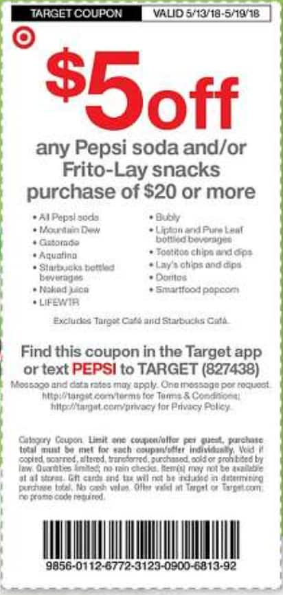 Target B&M - 6 Pepsi 12 packs for $15, or other Frito-Lay products