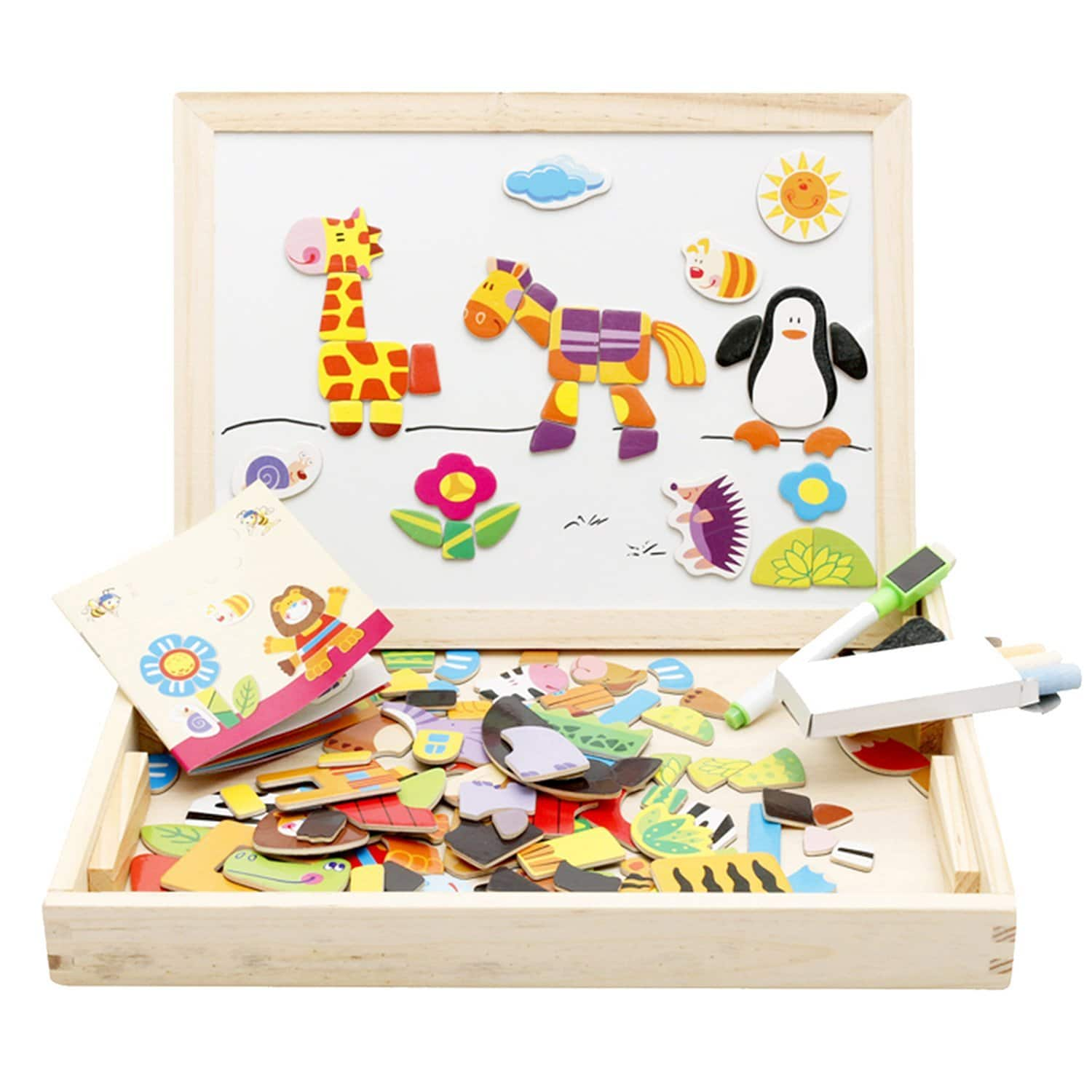 50% off Wooden Educational Toys Magnetic Art Easel Animals Wooden Puzzles Games for Kids $9.35