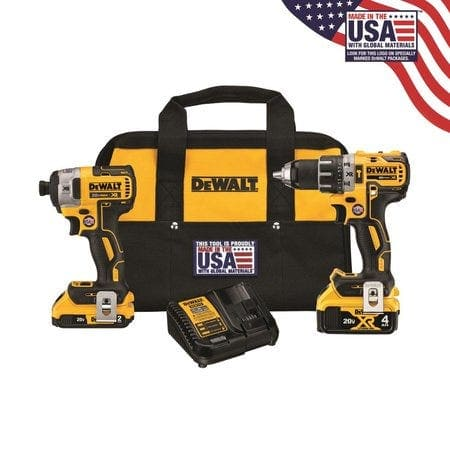 Dewalt Hammer Drill + Impact driver combo with one 2ah and one 4ah battery ( Model - DCK287D1M1 )  - $209