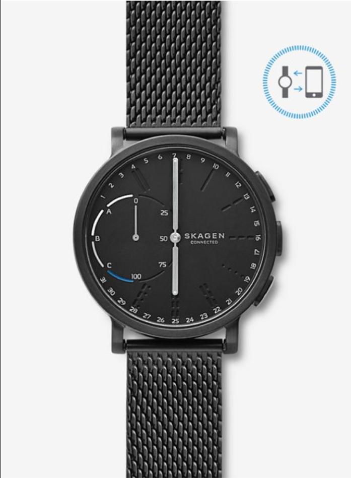 Skagen : Hagen Black Steel-Mesh : Hybrid Watch for 53.20$ : Free Shipping $53.20