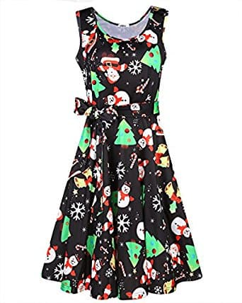 Women's Christmas Sleeveless Flare Cocktail Dress With Pocket $12.99@amazon