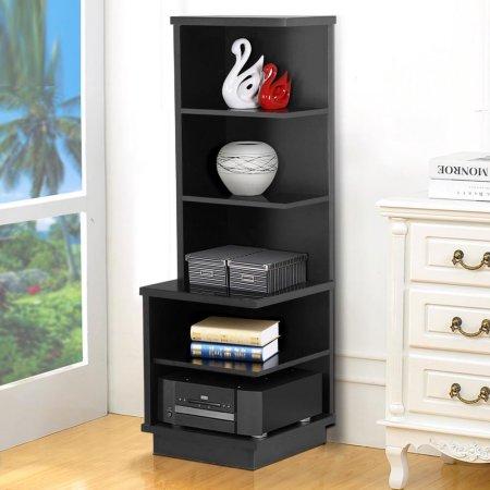 Yaheetech 5 Tier Wooden Open Shelf Bookcase Audio Stand Corner Display Shelves Black $69.99 at Walmart