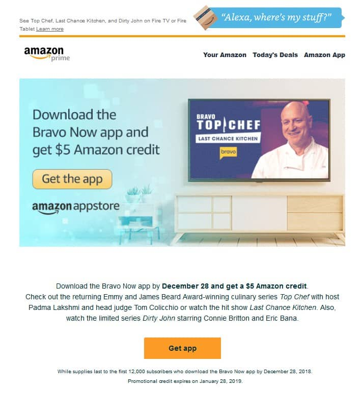 $5 AMAZON CREDIT: Download the Bravo Now app by December 28 and get a $5 Amazon credit