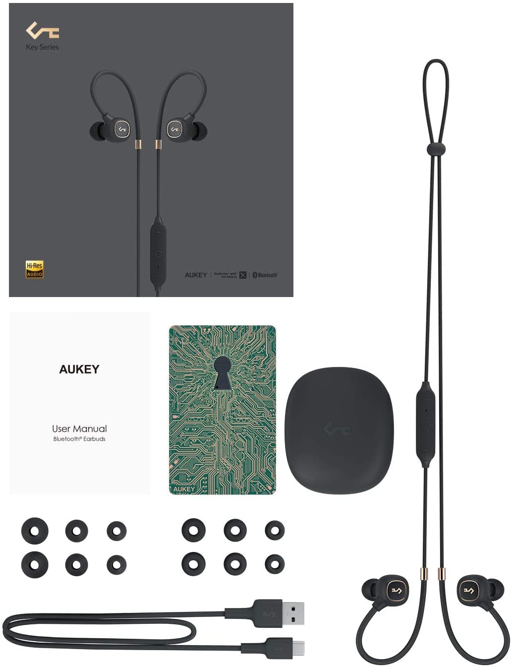AUKEY Wireless Headphones Key Series B80 Bluetooth 5.0 Hybrid Driver System, aptX Low Latency, IPX6, USB-C Charging, 8h Playtime and in-line Mic (Black) $35.39