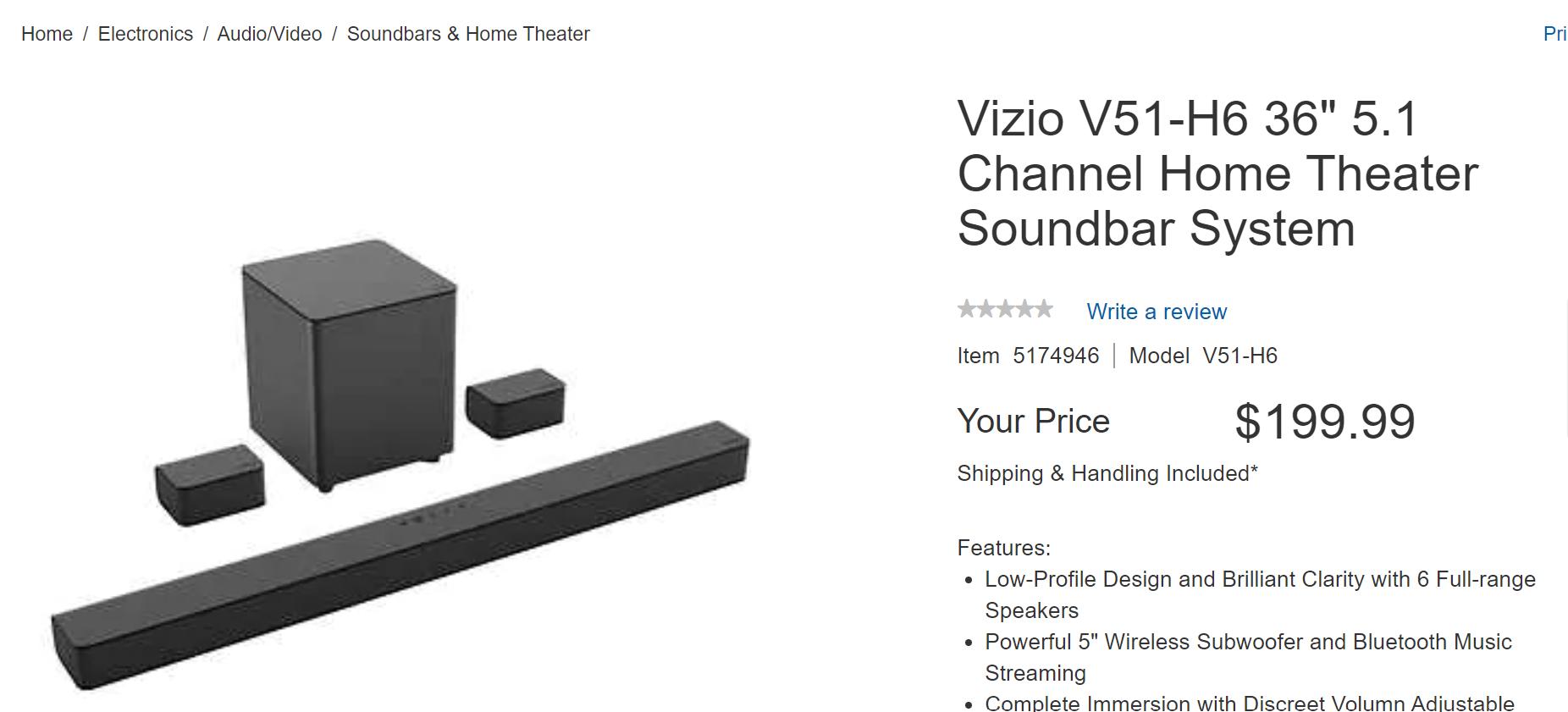 """Vizio V51-H6 36"""" 5.1 Channel Home Theater Soundbar System - $200"""