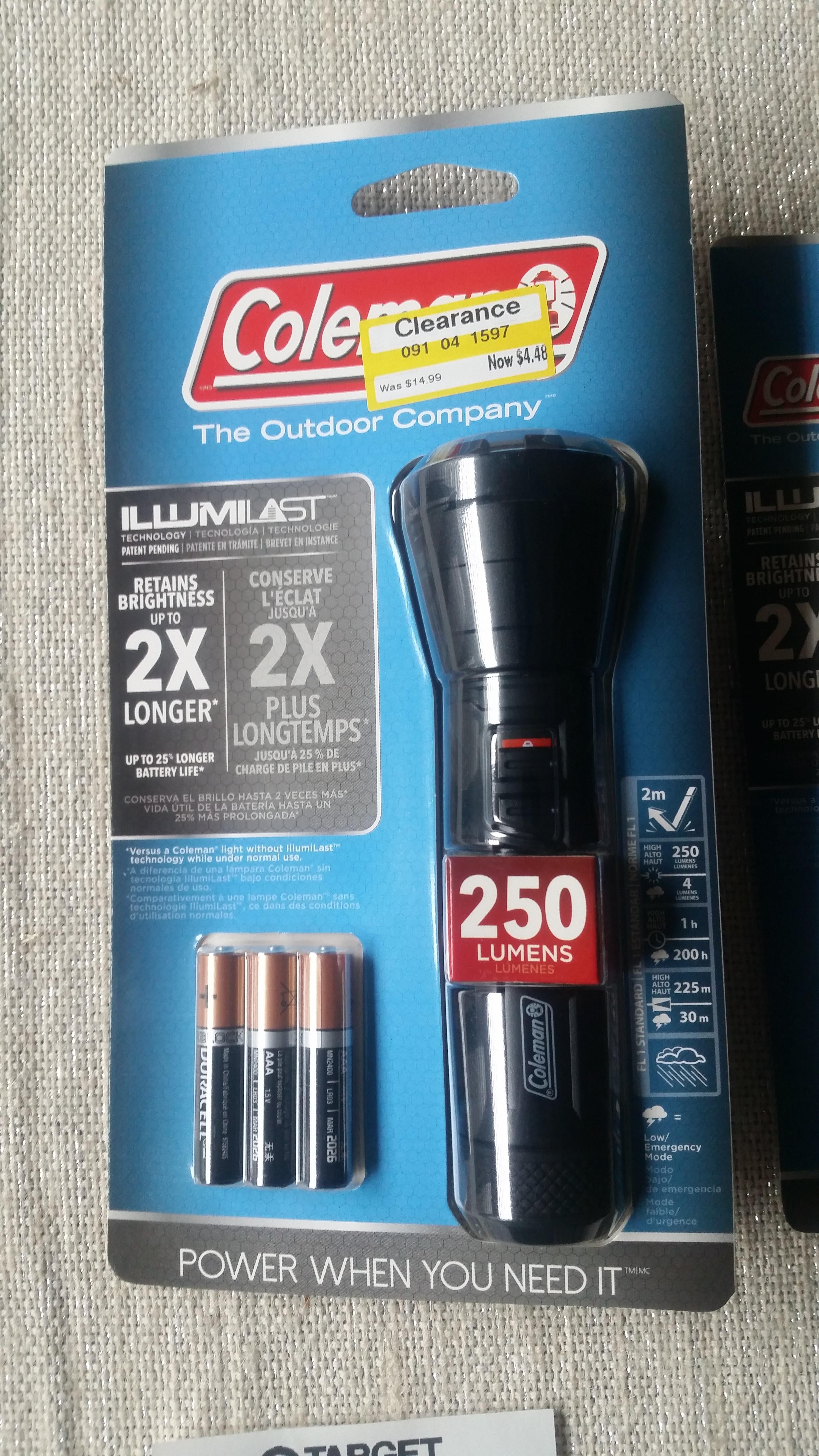 Target Coleman® Illumilast 250L LED Flashlight - Black YMMV $4.48