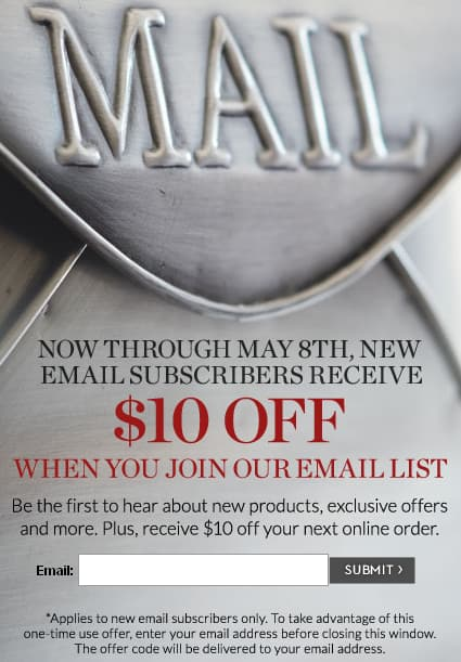 Pottery Barn $10 off order of $11 or more with new email sign up