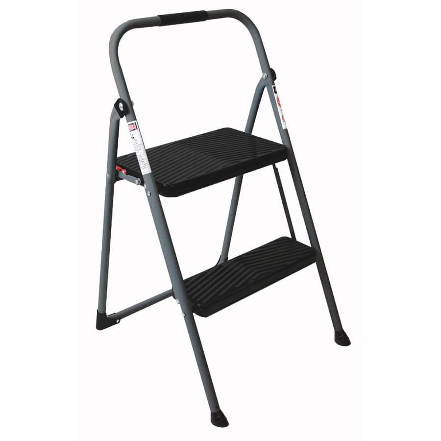 Werner 2-Step 225 lbs. Capacity Gray Steel Foldable Step Stool $11.98