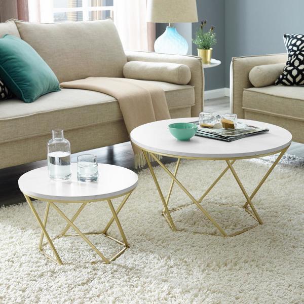 Walker Edison Furniture Company Modern Nesting Coffee Table Set - White Marble/Gold $96.39