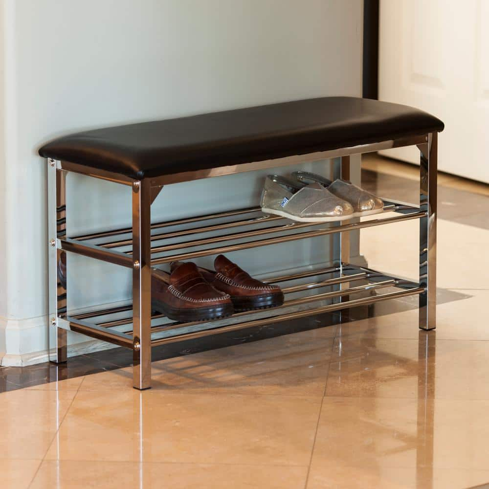 Black Leatherette with Chrome Frame Storage Entryway Bench $69.00 + fs