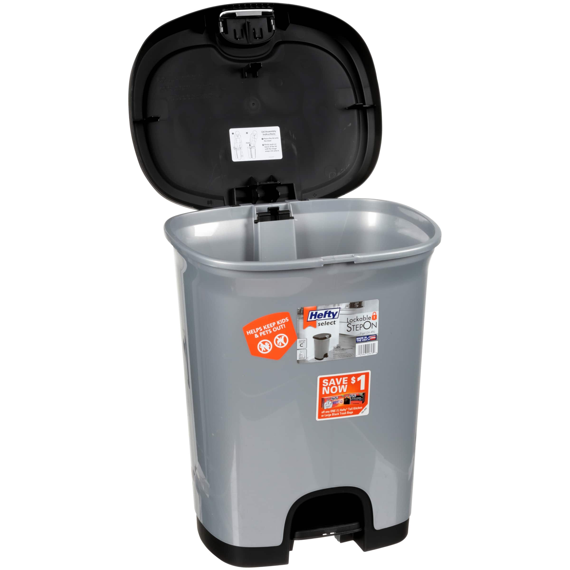 Hefty 7 Gal Textured Step On Trash Can With Lid Lock And Bottom Cap