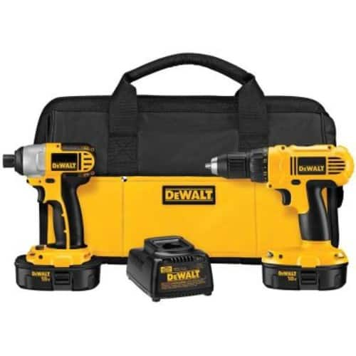 $99.00 DEWALT 18-Volt NiCd Cordless Drill/Driver and Impact Driver Combo Kit (2-Tool) with (2) Batteries 1.2Ah, Charger and Bag