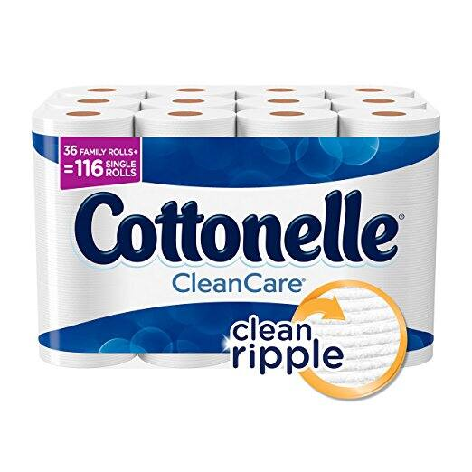 Cottonelle CleanCare Family Roll Toilet Paper (Pack of 36 Rolls), Bath Tissue, Ultra Soft Toilet Paper Rolls with Clean Ripple Texture, Sewer and Septic Safe S&S 20% $15.59