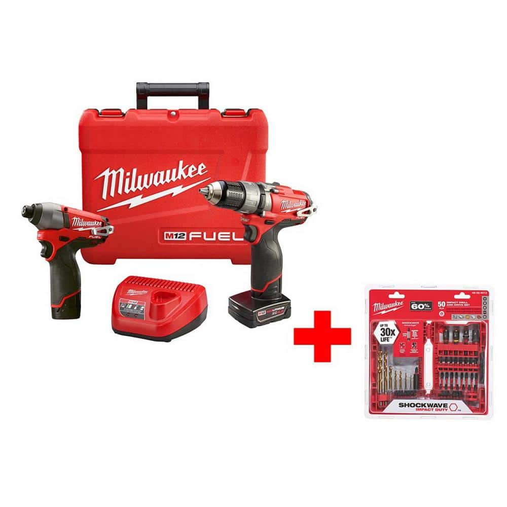 Milwaukee M12 FUEL 12-Volt Lithium-Ion 1/2 in. Hammer Drill/Driver and Impact Combo Kit with Shockwave Impact Bit Set  - $194.00 at Home Depot