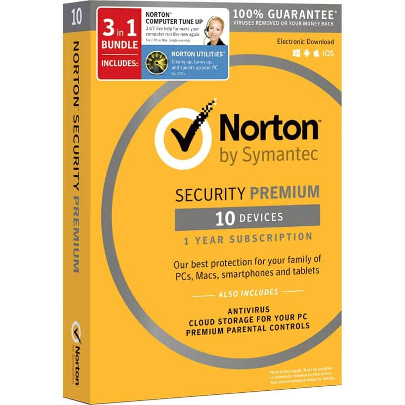 It's back:  Norton Security Premium (10 devices) - $24.99 @ Fry's with promo code
