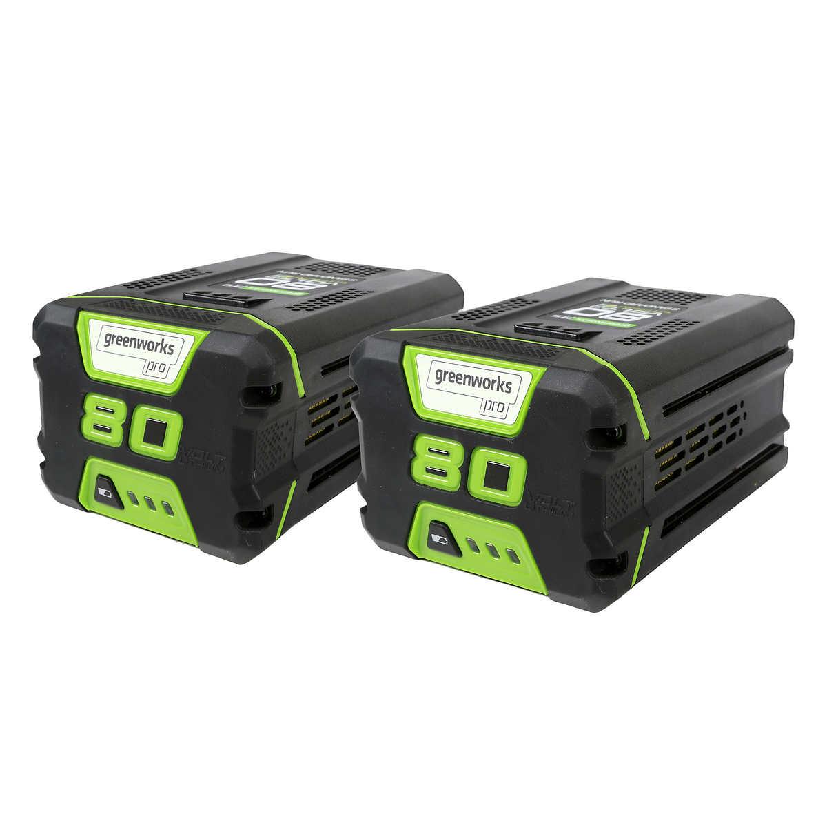 Greenworks 80V 2.0 Ah Lithium Ion Battery, 2-pack $184.99 or 2-pack 4.0 Ah for $289