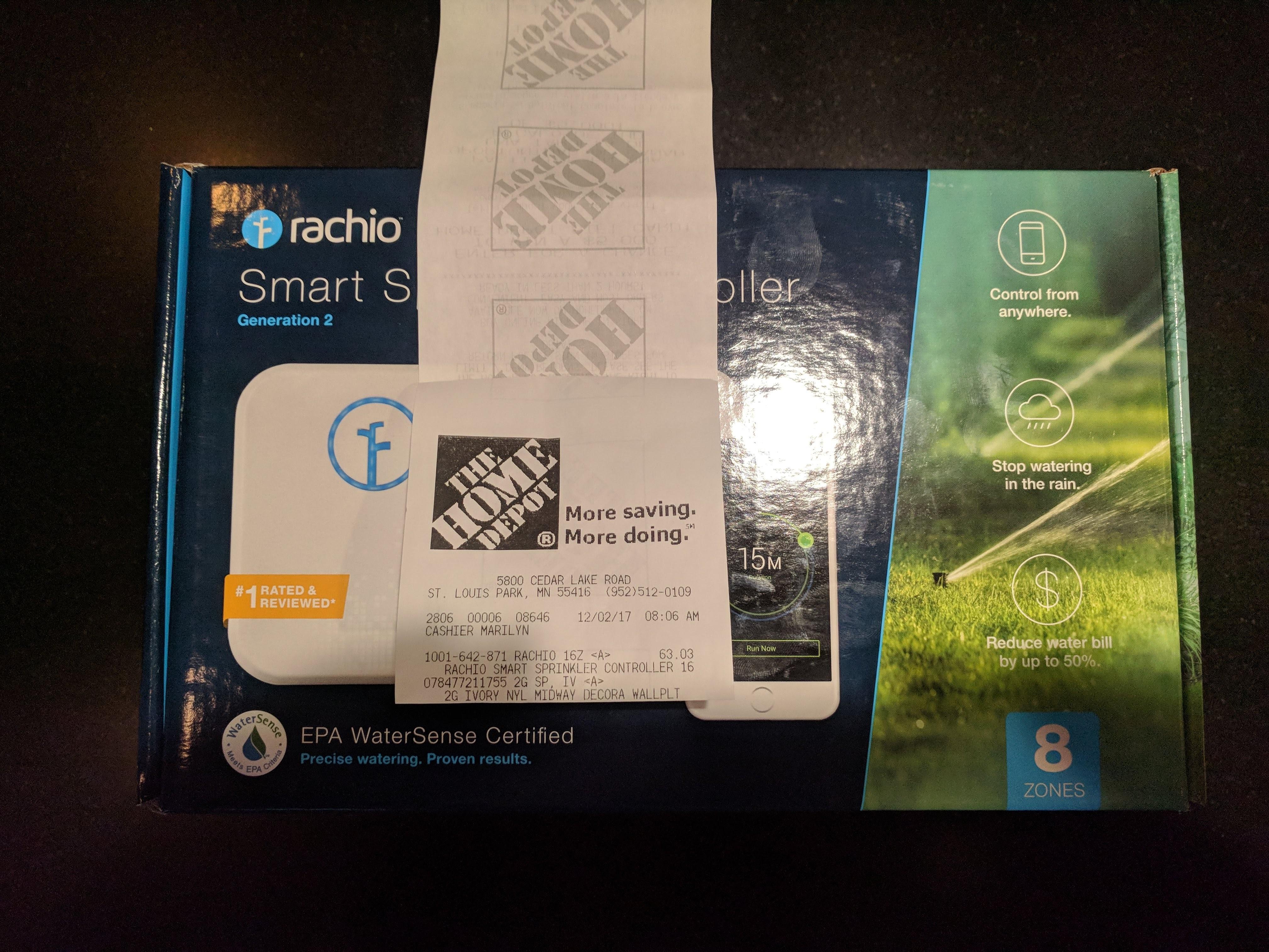 Rachio 2nd generation 8 Zone Wifi smart sprinkler controller