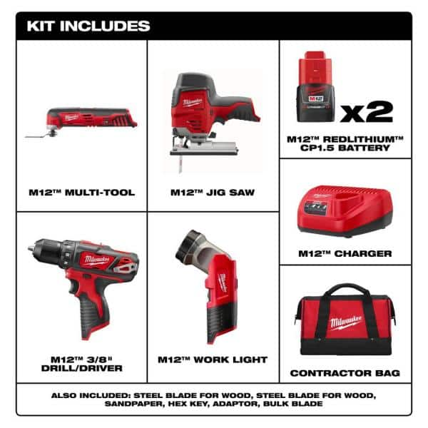 M12 12-Volt Lithium-Ion Cordless Combo Tool Kit (4-Tool) with Two 1.5 Ah Batteries, 1 Charger, 1 Tool Bag $189