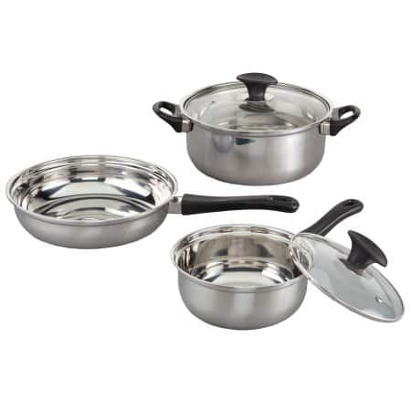 Miles Kimball 5 Pc. Stainless Steel Cookware Set for $6.92 + Free Shipping @Walmart