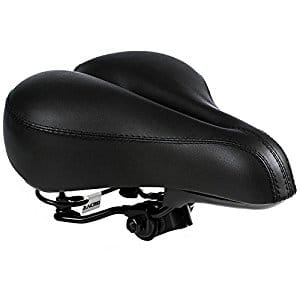 Dual Spring Designed Suspension Artificial Leather Bike Seat Bicycle Saddle with 1 Mounting Wrench (Black)  for $15.29 + frees hipping W/Prime @Amazon
