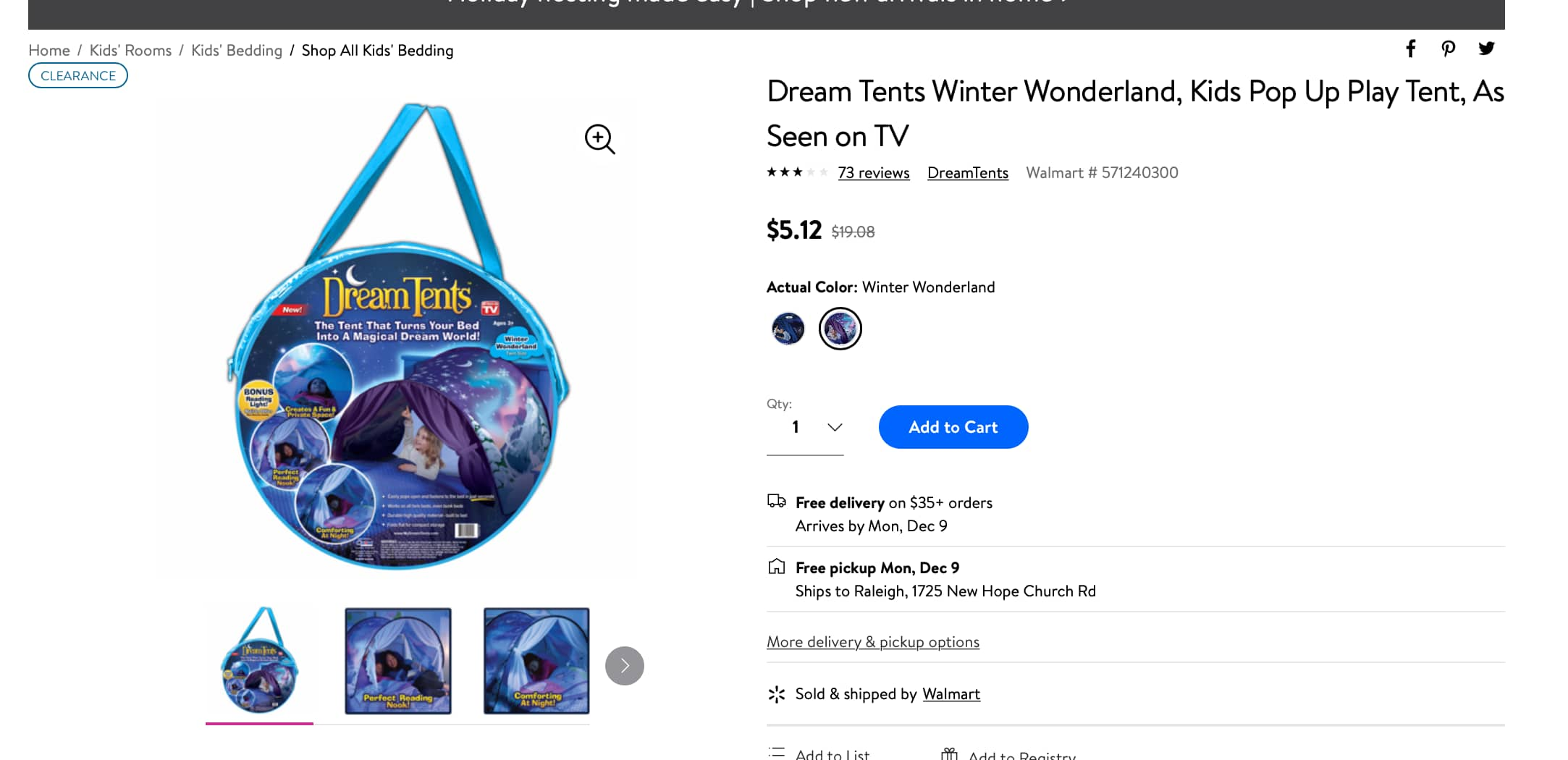 Dream Tents Kids Pop Up Play Bed Tent (Winter Wonderland or Space Adventure) $4.61 (after cash back) @ Walmart FS w/$35, Free Store Pick-up.