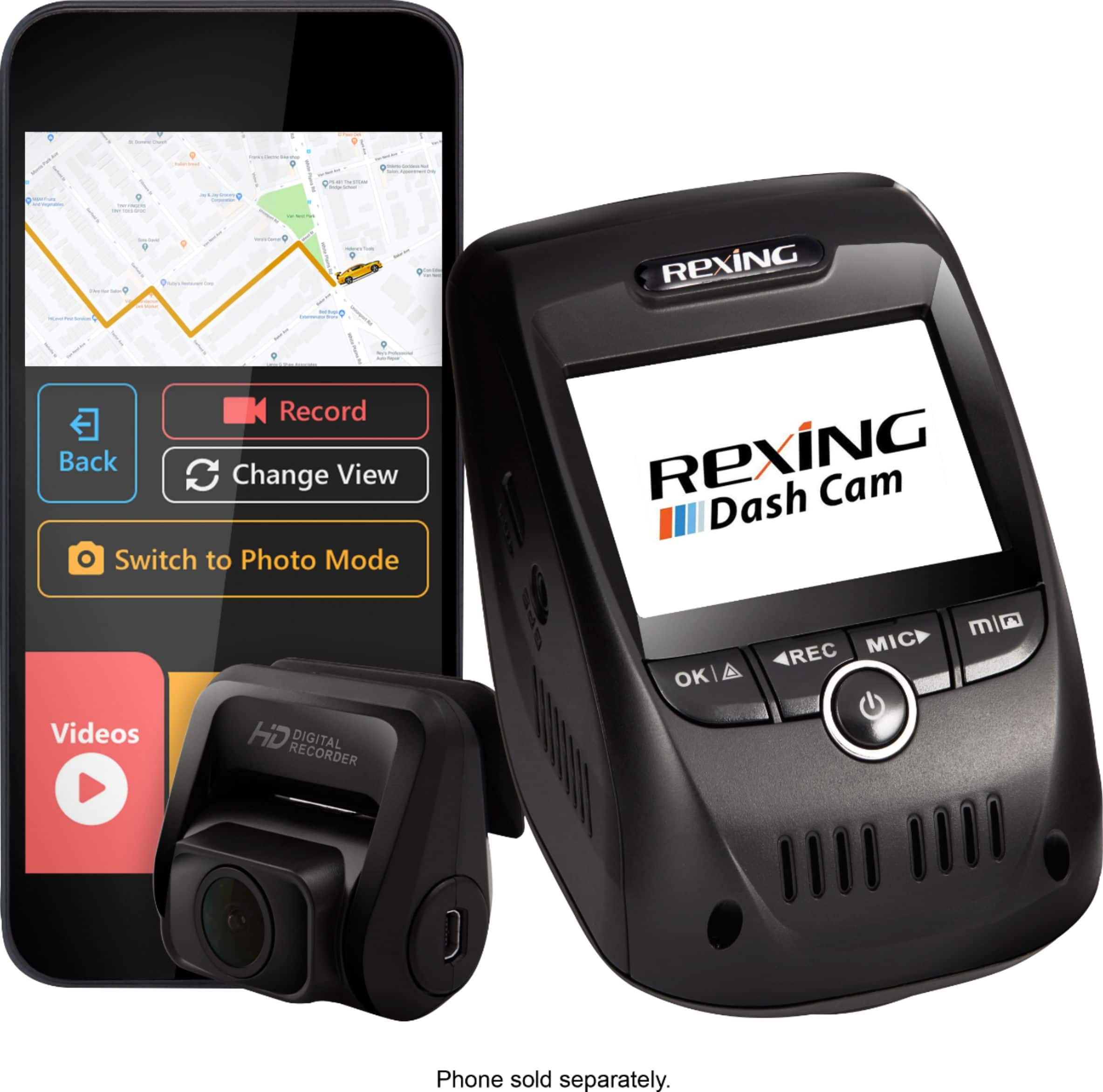 Rexing - V1P Pro Plus Front and Rear Camera Dash Cam - Black $139.9