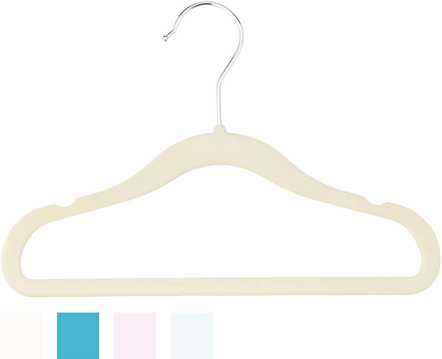 AmazonBasics Kids Velvet Hangers - 30-Pack, Beige $6.98 add on item@amazon