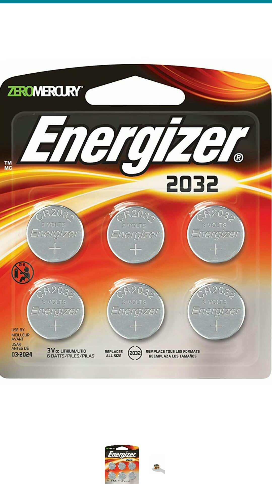 Energizer  Watch Batteries CR2032 6count $4.93 AC,Add on item,Free S&H Prime