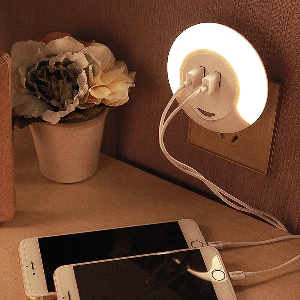 LED Night Light with Dusk to Dawn Sensor and Dual USB Port Warm White $10.90