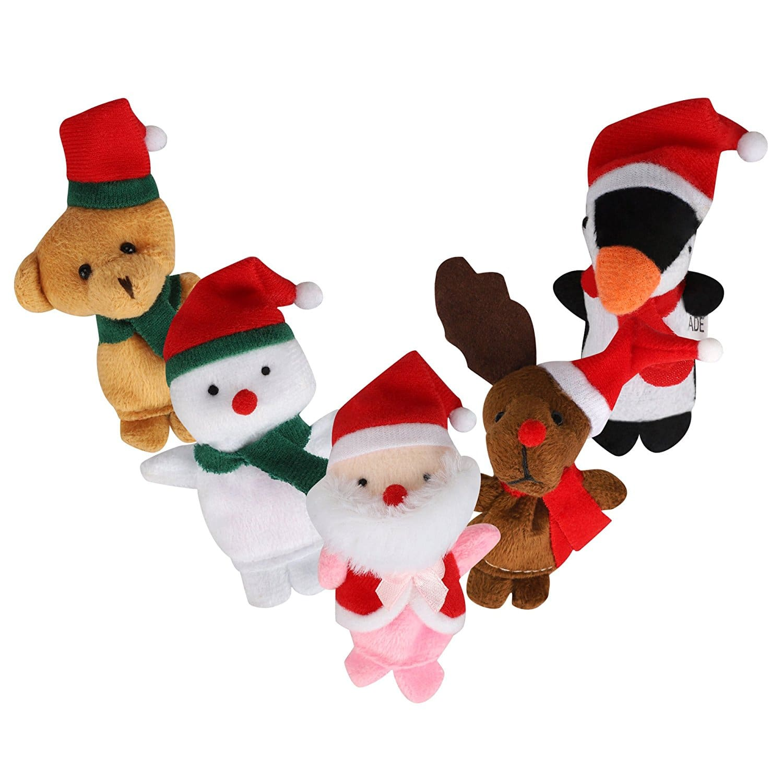5 Set of Christmas Santa Claus Deers Snowman Finger Puppet $5.99