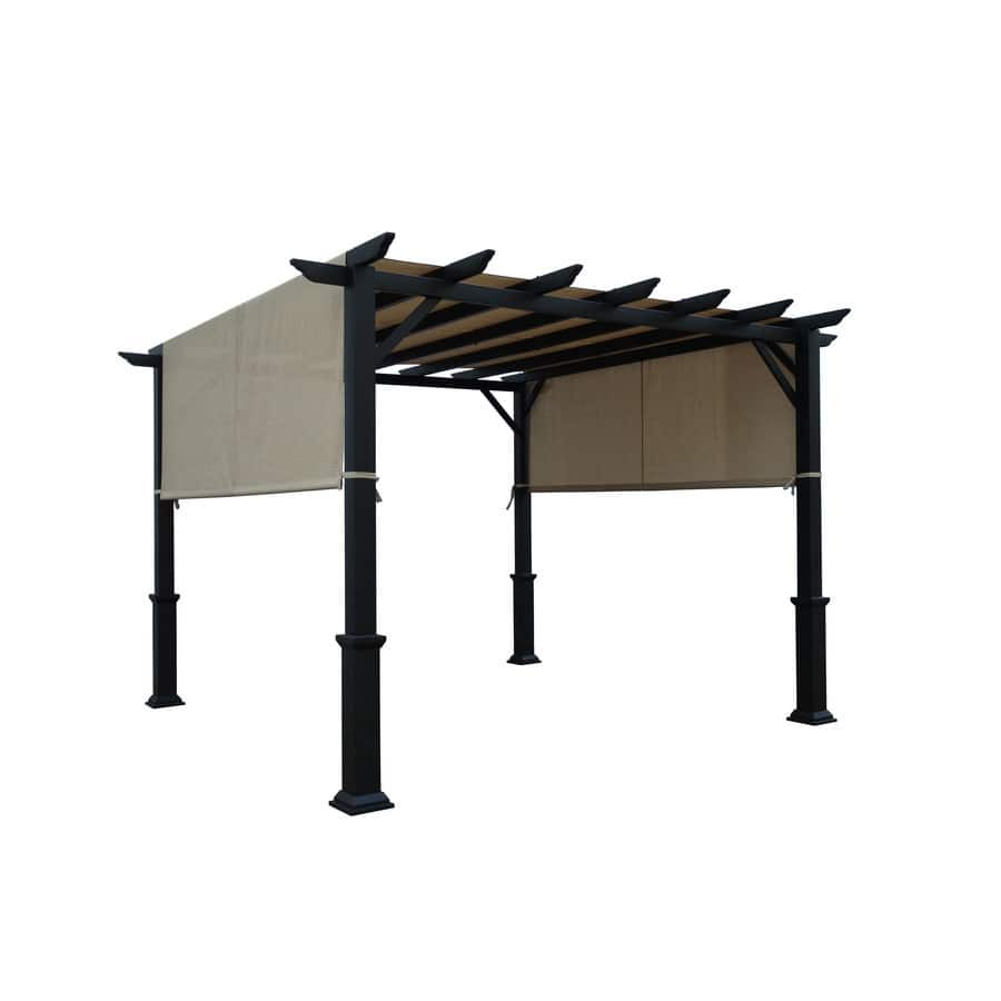 Garden-Treasures-134-in-W-x-134-in-L-92-in-H Pergola-with Canopy Lowes $398