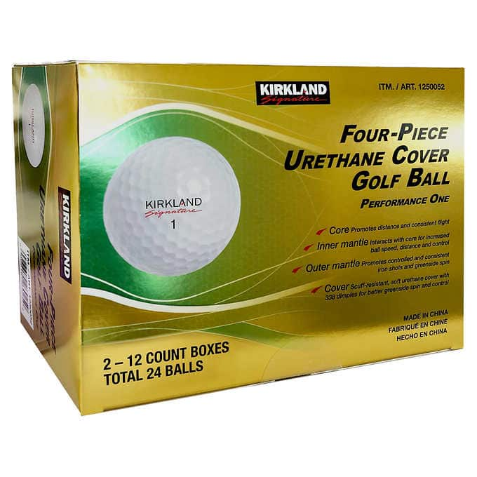 Kirkland Signature 4-piece Urethane Cover Golf Ball, 2-dozen