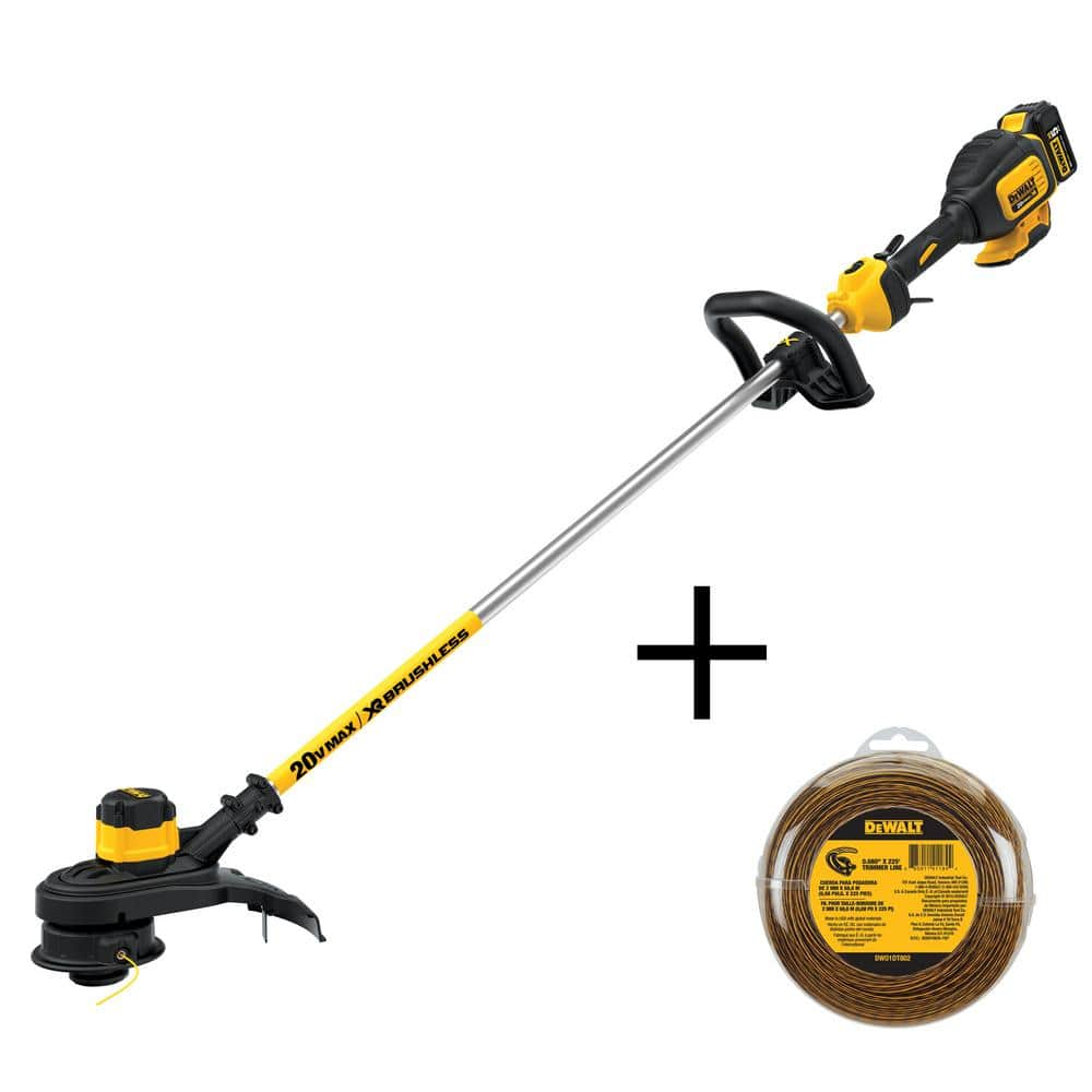 DEWALT 13 in. 20-Volt MAX Lithium-Ion Cordless Brushless String Trimmer w/ 5.0Ah Battery, Charger and Bonus 225ft 0.080 in. Line @ Home Depot $140