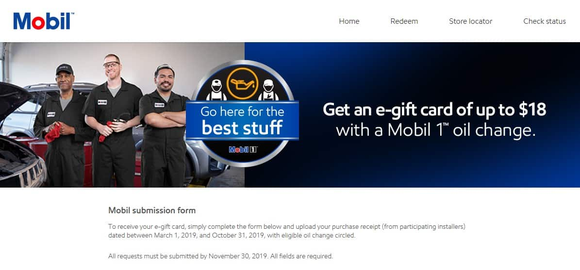 Mobil1 Us Onlineform >> Mobil Oil Change Rebate 2019 12 E Gift Card Amazon Or
