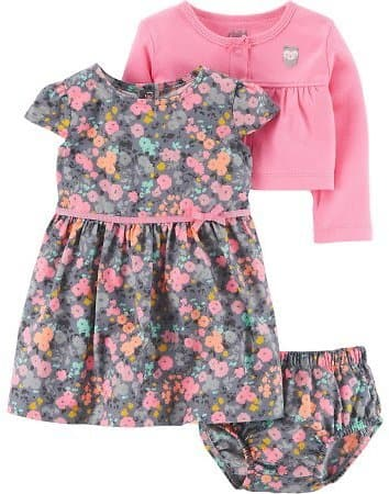 Child of Mine By Carter's Baby Girl Cardigan, Dress, and Diaper Cover, 3pc Outfit Set $9.5