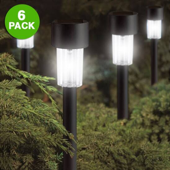 "Set of 6: Elegant Black 9"" Solar Garden Lights $8.99 at GearXS"