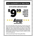 Logan's Roadhouse -> 8oz Blackened Flat Iron Steak w/side + salad for $9.99