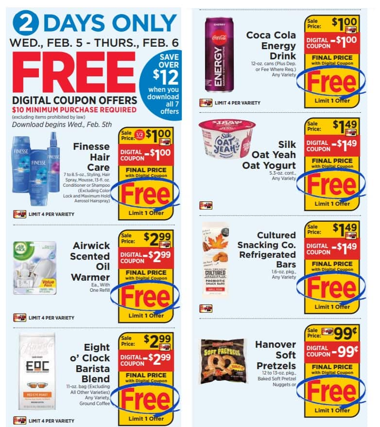 Shoprite: February 5 & 6 only: 7 free items with $10 purchase using digital coupons: YMMV