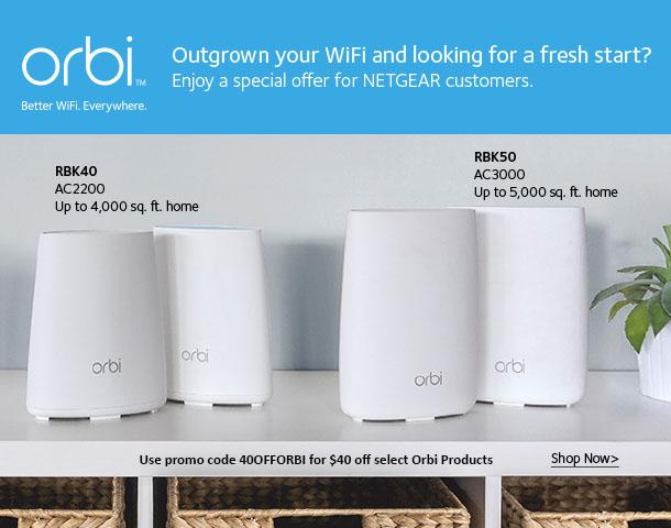Orbi Home Wi-Fi System AC3000 - $40 Off Promo Code: 40OFFORBI
