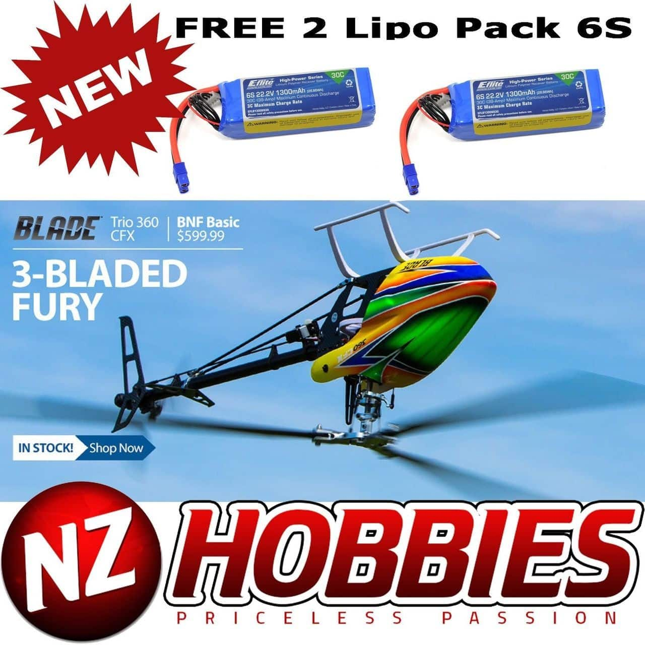 Blade BLH4755 Trio 360 CFX BNF Basic Helicopter w/ Free 2X 6S Lipo Battery $599.99