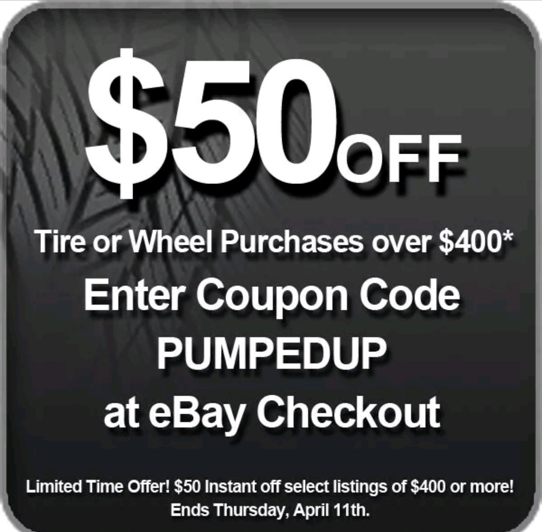 $50 off tire of wheel purchase (discounttire via ebay)