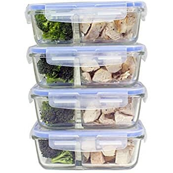 Misc Home Inc: 8-Piece 2 Compartment Glass Meal Prep Containers - $25.99 + Free Shipping