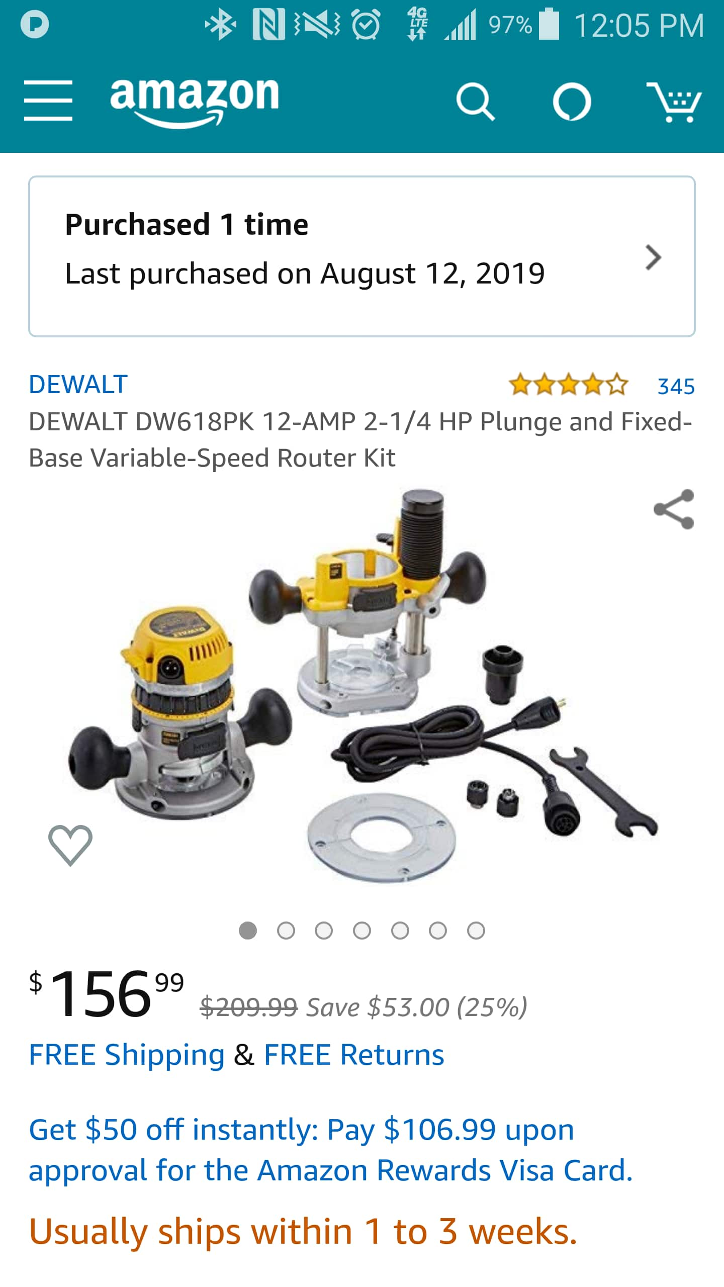 DEWALT DW618PK 12-AMP 2-1/4 HP Plunge and Fixed-Base Variable-Speed Router Kit $156.99