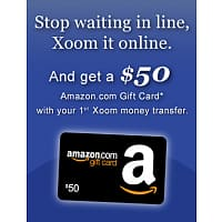 xoom.com Deal: Alive again but valid for Philippines only -Free $50 Amazon GC - For 1st time users Xoom Money Transfer to Philippines - Minimum amount $100 + $4.99-8.99 Fees