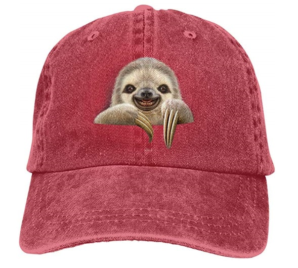 Pocket Sloth Vintage Washed Dyed Cotton Twill Low Profile Adjustable Baseball Cap, Red $3.14