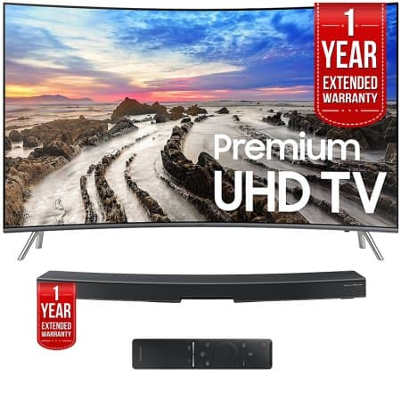 Samsung UN55MU8500FXZA 55'' Curved UHD Smart LED TV 2017 with Samsung HW-MS6500/ZA Sound+ Curved Premium Soundbar (both with 1 Year Extended Warranties) $1275.98